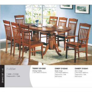 Teddy-Oak-Cindy-Candy Dining Set