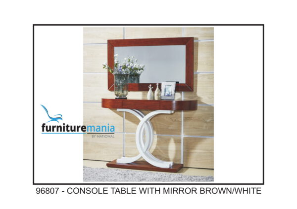 Console Table With Mirror Brown/White-96807
