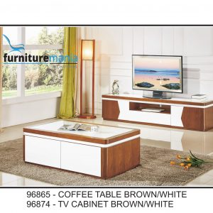 Coffee Table/TV Cabinet Brown/White-96865/96874