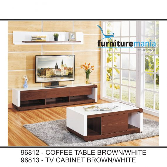 Coffee Table/TV Cabinet Brown/White-96812/96813