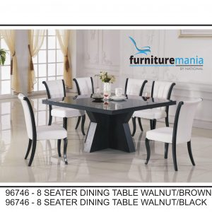 8 Seater Dining Table Walnut/Brown/Black-96746